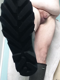 My fat  body little cock in rubber boots